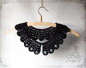crochet collar - Skulls - gothic, victorian, romantic, mourning, elegant, black, secretary, halloween, evening wear, scalloped edge