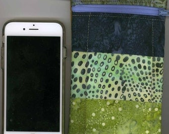 Cell Phone Bag - Quilted Cotton,  Multi colored Batik, Short strap -  Fits iphone