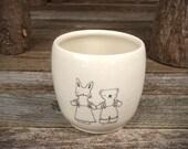 handmade ceramic cup: friends
