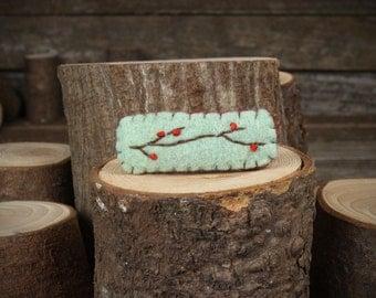 hand-stitched wool felt hair clip: branch design by Kata Golda