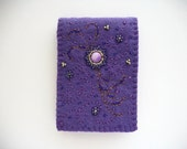 Needle Book Purple Felt Needle Keeper with Bead Embroidery and Swirls Hand Embroidered Handsewn