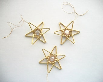 Star Ornaments Gold Plated Tree or Wall Hangings with Baroc Fresh Water Coin Pearls Hand Beaded 3 pieces