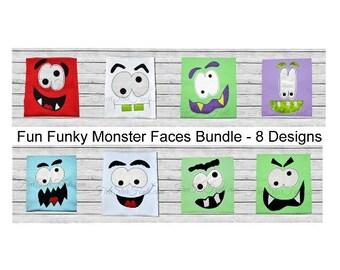 Fun Funky Monster Faces Applique Bundle