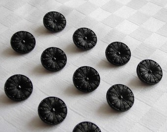 20 beautiful black  glass buttons with very nice surfaces  -  (18mm - 11/16 in.)