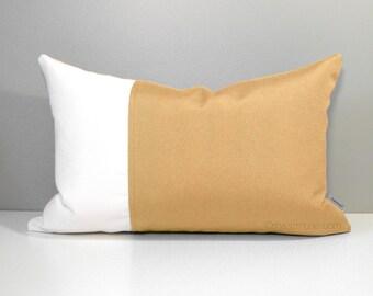 Gold Outdoor Pillow Cover, Modern Color Block Pillow Cover, Decorative Throw Pillow Case, Honey White Sunbrella Cushion Cover, Mazizmuse
