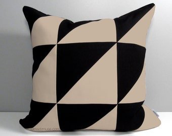 Modern Outdoor Pillow Cover, Decorative Black & Antique Beige Color Block, Masculine Geometric Sunbrella Pillow Case Cushion Cover Mazizmuse
