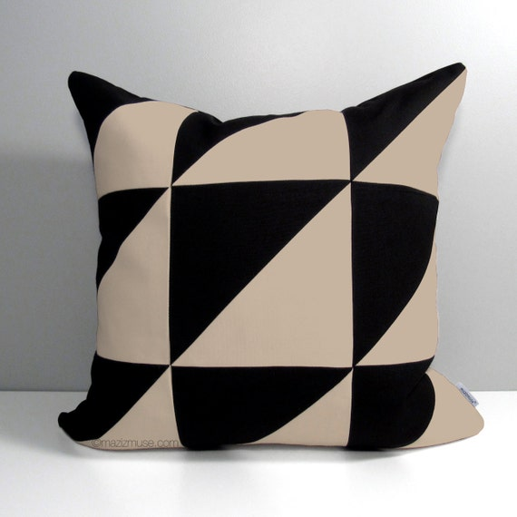 Decorative Outdoor Pillow Covers : Modern Outdoor Pillow Cover Decorative Black & Antique Beige