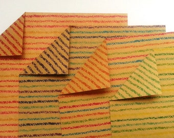 Double Sided Origami Paper- Kraft Paper with Stripes Pattern 1 - 20 Sheets or 40 Sheets