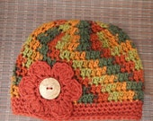 Woman's Beanie Hat - Variegated Colored - Hand Crocheted