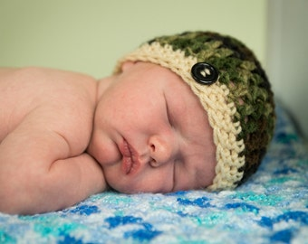 Newborn  Baby Beanie Cap - Green Camouflage Hand Crocheted
