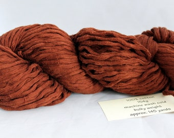 30% off STORE CLOSING SALE Nut Brown Upcycled Cotton Yarn, Bulky Yarn - 145 Yards
