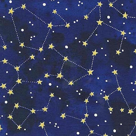Moon and stars fabric by michael miller gold shimmer for Moon and stars fabric