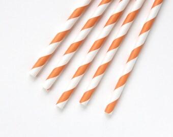 100 Orange Striped Straws, Orange Paper Straws