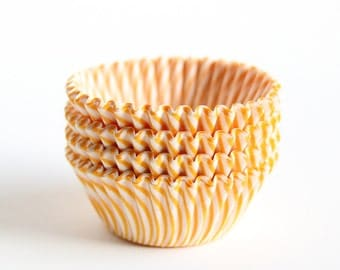 MINI Yellow Striped Cupcake Liners, Yellow Stripe Mini Baking Cups (60)