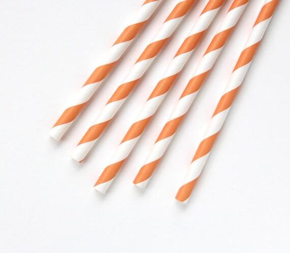 200 Orange Striped Paper Straws - Wedding, Party, Bulk Paper Straws