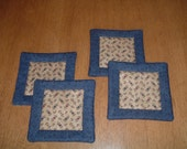 Quilted Coasters or Mug Rugs in Blue and Beige Reversable Kansas Troubles Fabrics