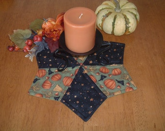 Quilted Halloween Harvest Table Topper Candle Mat Trivet Primitive Country