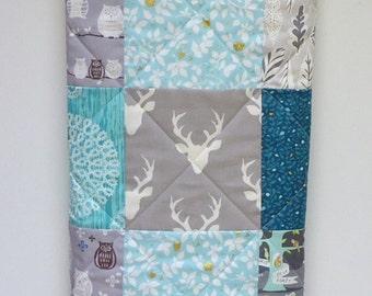 Woodland Baby Quilt-Rustic Boy Bedding-Modern Crib Blanket-Buck-Deer-Owl-Fox-Aqua-Teal-Turquoise-Gray-Grey-Charcoal