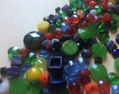 Vintage Czech glass nailhead bead lot Mixed sizes and colors trim sew ons doll parts embellishments