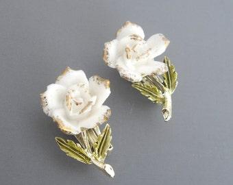 Coro Porcelain Rose Earrings, Porcelain Earrings, Coro Earrings, Flower Earrings