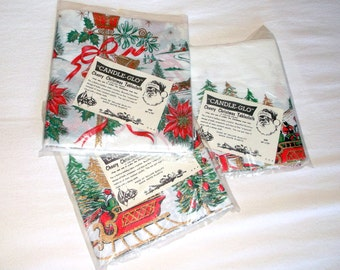 Vintage Candle Glo crepesoft plastic Christmas Tablecloths • 3 count • New in Package