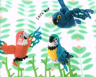 Tame Budgie Amigurumi Doll Pattern - Japanese Crochet Pattern Book, Inko Kotoriyama, Easy Crochet Parakeet Tutorial, Bird Amigurumi,  B1549