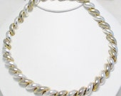 pre owned estate 925 sterling silver statement chain link necklace half rolo dome arch san marco macaroni collar Italian made 16 inch