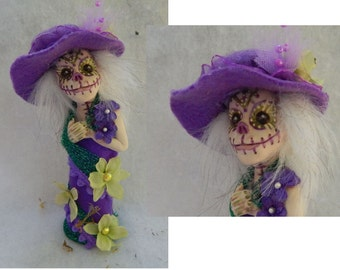 Sugar Skull Day of The Dead Goddess OOAK Fairy Fairies Art Dolls NEW Figurine Polymer Clay Halloween