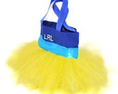 Tutu Bag with Bright Blue Satin Ribbon, Tutu Tote Bag With FREE Monogram Name Embroidered on the Bag, Personalized Dance Bag, Fairy Bag