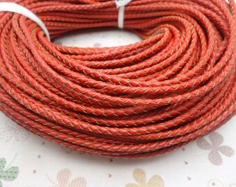 50 METERS 3mm red Braid REAL LEATHER necklace cord / one role