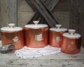 Aluminum Canister Set Vintage Mirro Nesting Copper Color White Lids