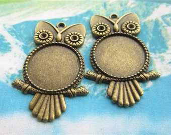 New come--10pcs 47x26mm antiqued bronze round picture/photo frame charms/pendants owl blanks(fit 20mm cabochon)