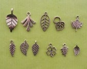 The Leaf Collection - 10 different antique silver tone charms