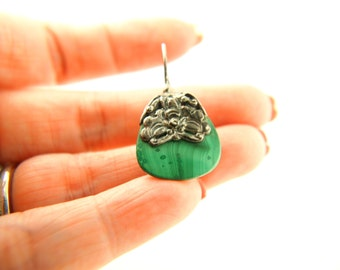 Malachite Butterfly Earrings - Sterling Silver - Vintage