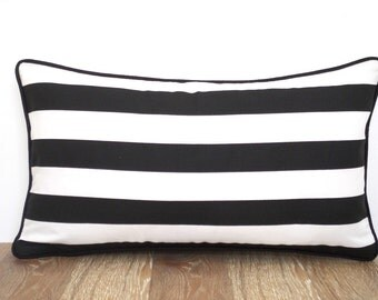 White and black lumbar pillow case dorm room decor, small desk chair pillow cover gifts for him, cabana striped pillow with piping