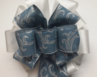 Wedding Pew Bows Denim Blue with Silver Scroll Wired Ribbon over White Acetate Satin Ribbon Hand Tied