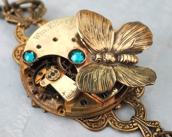 steampunk necklace SECRET GARDEN Victorian style antique year 1900s Waltham watch movement necklace with butterfly and Swarovski jewels