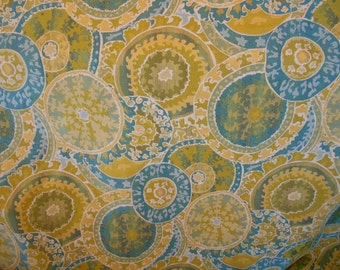 CIRCLES TAPESTRY yellow green teal chenille upholstery fabric by the yard home decor,16-60-04-0114