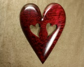 Personalized Red Valentines Day gift Heart wood carving sculpture