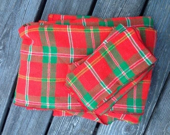 Plaid Holiday Tablecloth Set with Napkins - Christmas, Green and Red Plaid
