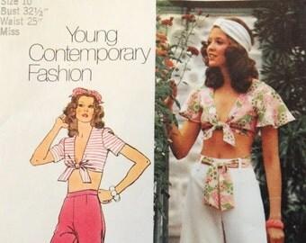 1970s Palazzo pants pattern, tie in front top, capri pants, wide leg pants, Simplicity 5695, misses size 10 bust 32 1/2, retro pattern