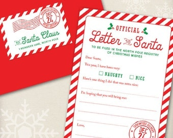 Official Letter to Santa Kit - Set of 4 cards, red envelopes, and mailing labels!