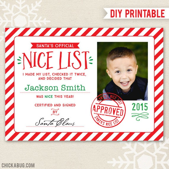 Items similar to santa39s nice list certificate diy printable quotofficialquot nice list certificate for Diy certificates