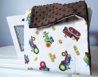 Tractor Minky and Flannel Blanket, Baby and Toddler