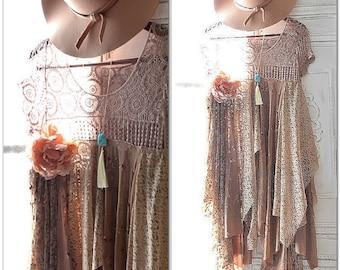 M Magnolia lace pearl gypsy dress, Music Festival, Stevie Nicks style tunic dress, Crochet Boho dresses, Bohemian Beach, True rebel clothing
