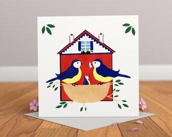 New Arrival Card- New Baby Card- Baby Bird Card