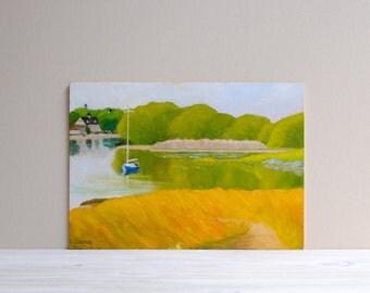 Vintage Original Signed Landscape Painting / Nautical Fishing Village