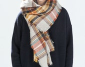 tartan plaid beige orange multi color fall blanket scarf zara inspired