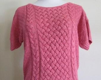 vintage Keneth too! pink acrylic short sleeve sweater