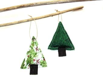 Organic pine sachet ornaments, set of two, gift for her, hanging sachets, winter Christmas sachet set, teacher gift under 15
